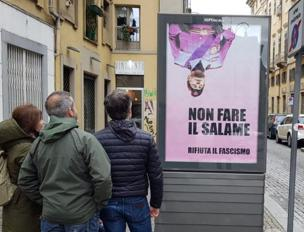 Il poster comparso in via Corte d'Appello
