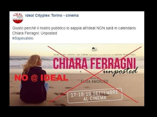 Doc su Chiara Ferragni, il cinema Ideal di Torino dice no: «Escluso dal calendario». Boom di like al post