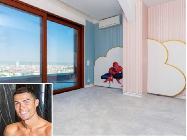 Torino, la villa di Ronaldo torna sul mercato: 1000 mq con spa, suite e il disegno di Spiderman